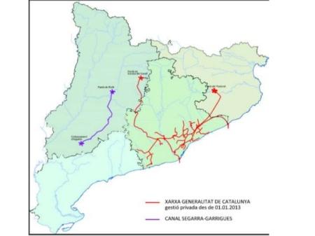 Mapa privattització Aigües Ter Llobregat i Canal Segarra Garrigues
